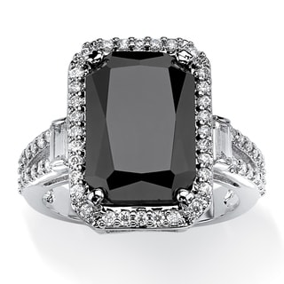 8.34 TCW Princess-Cut Black Cubic Zirconia Halo Ring Platinum-Plated Bold Fashion