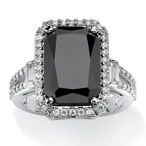 Platinum-plated Black Cubic Zirconia Ring - White