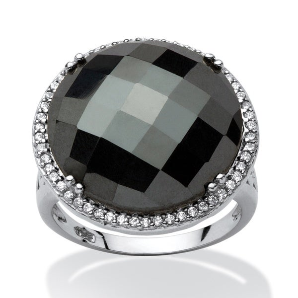Round Black Onyx Halo Square Cocktail Ring Sz 7 Sterling Silver 925 Cushion CZ
