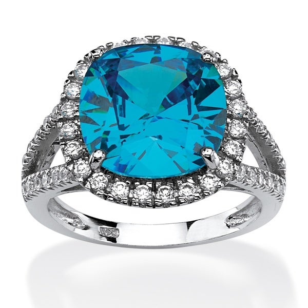 4.45 TCW Cushion-Cut Turquoise Cubic Zirconia Halo Cocktail Ring in Rhodium-Plated Sterlin