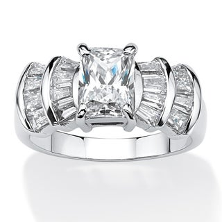 3.10 TCW Emerald-Cut Cubic Zirconia Anniversary Ring in Platinum Over .925 Sterling Silver