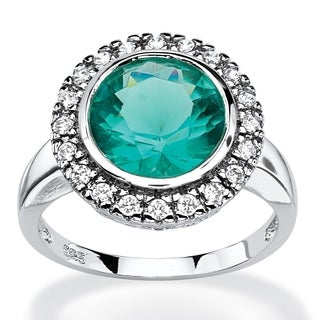 .30 TCW Round Aqua Simulated Spinel Halo Cocktail Ring in Rhodium-Plated Sterling Silver C