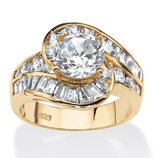 PalmBeach 4.79 TCW Round Cubic Zirconia Bypass Ring in 14k Gold Over Sterling Silver Classic CZ