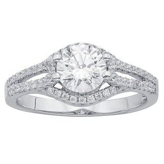 Divina Sterling Silver Austrian Crystal Cubic Zirconia 1/2 Ct TDW Engagement Ring