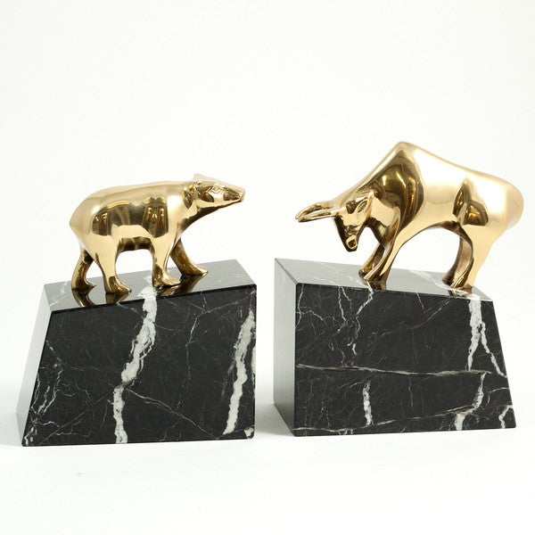 Stock Market Bull and Bear Bookends