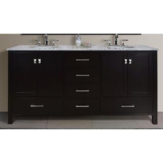 Stufurhome Malibu 72-Inch Espresso Double Sink Bathroom Vanity
