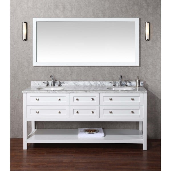 Stufurhome Bathroom Vanities stufurhome marla 72-inch double sink bathroom vanity and mirror