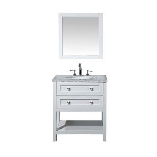 Stufurhome Marla 30-inch White Single Sink Bathroom Vanity with Mirror