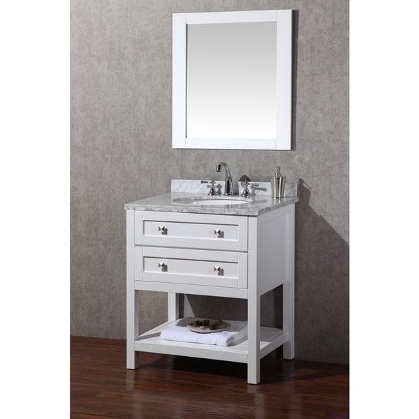 stufurhome marla 30 inch white single sink bathroom vanity