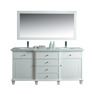 Stufurhome Cadence White 72-inch Double Sink Bathroom Vanity with Mirror