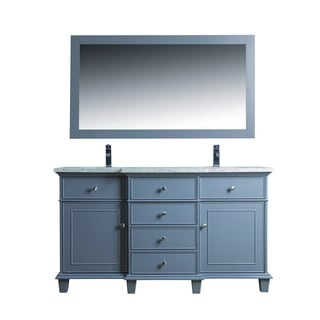 Stufurhome Cadence Grey 60-inch Double Sink Bathroom Vanity with Mirror