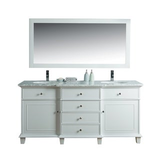 Stufurhome Cadence White 60-inch Double Sink Vanity with Mirror