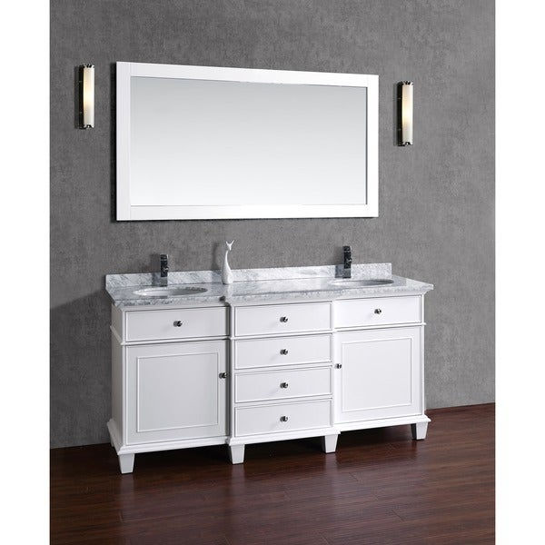 stufurhome cadence white 60inch double sink bathroom vanity with mirror free shipping today