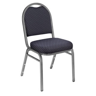 9200 Series Fabric Stack Chairs - 4 Pack (Diamond Navy Fabric on Silvervien Frames)
