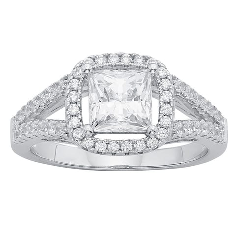 Divina Sterling Silver Austrian Crystal Cubic Zirconia 5/8 Ct TDW Engagement Ring