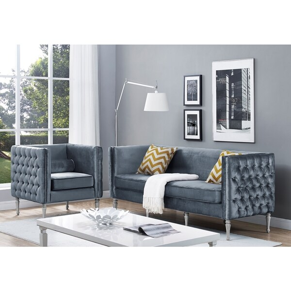 Overstock Living Room Sets: Shop Bryn Grey Velvet Living Room Set