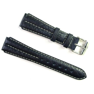 Banda Wyoming Buffalo Leather Watchband Chrono Sport Double Ridge Design- Real Italian Calf Leather-Dark Navy Blue Color