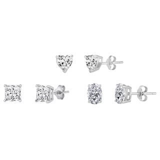 Three Pair Sterling Silver White Cubic Zirconia Stud Earrings in Heart, Oval and Princess Shapes