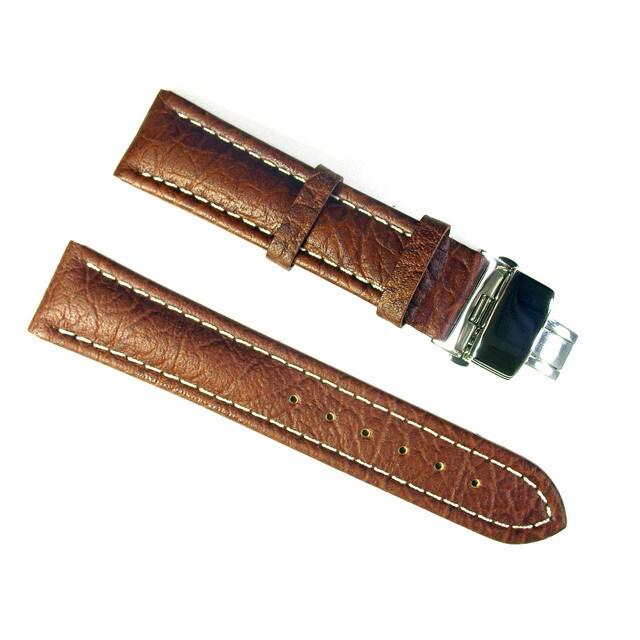 Banda Wyoming Buffalo Leather Watchband with Stainless Do...