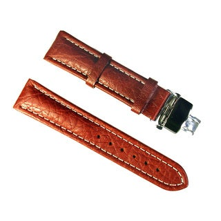 Banda Wyoming Buffalo Leather Watchband with Stainless Double Folding Butterfly Clasp Deployant Buckle-Real Italian Calf leather