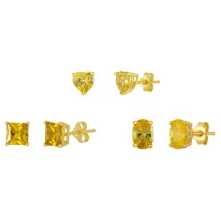 Three Pair Sterling Silver Yellow Cubic Zirconia Stud Earrings in Heart, Oval and Princess Shapes