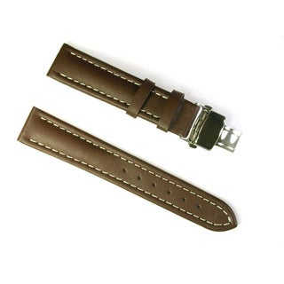 Banda Leather Waterproof Watch Band with Stainless Deployant Two Button Double Fold Buckle Design-Real Italian Calf Leather