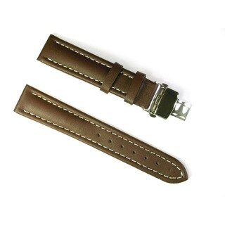 Banda Leather Waterproof Watch Band with Stainless Deployant Two Button Double Fold Buckle Design-Real Italian Calf Leather (3 options available)