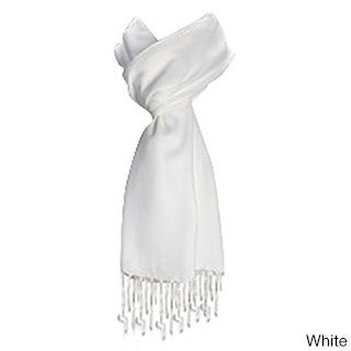 Premium Solid Color Scarf with Tassels (Option: White)