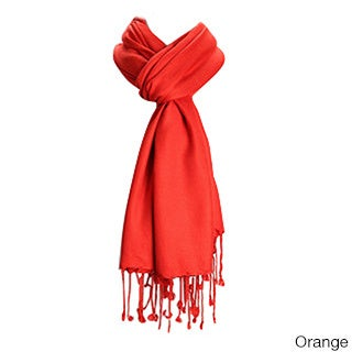 Premium Solid Color Scarf with Tassels (Option: Orange)
