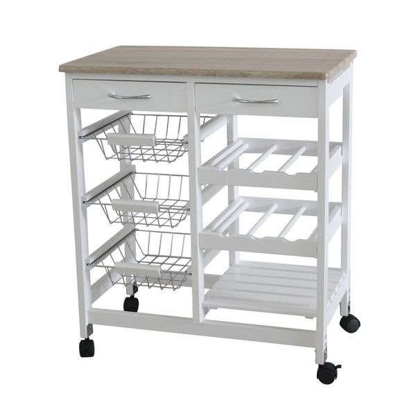 Home Basics White Oak 2 Drawer Kitchen Trolley With Baskets