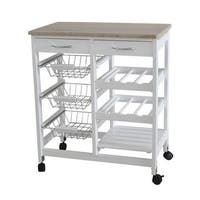 Home Basics White Oak 2-drawer Kitchen Trolley with Baskets