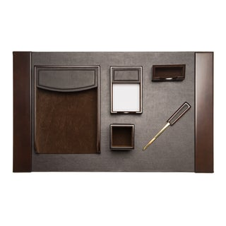 Brown Leather 6-piece Desk Set