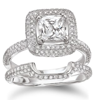 Avanti Sterling Silver 4ct TGW Cubic Zirconia Cushion-cut Pave Halo Bridal Ring Set