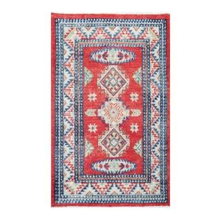 Handmade Vegetable Dye Kazak Wool Rug (Afghanistan) - 2' x 3'1