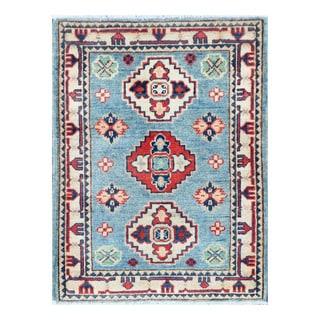 Herat Oriental Afghan Hand-knotted Tribal Vegetable Dye Kazak Light Blue/ Ivory Wool Rug (2'1 x 2'10