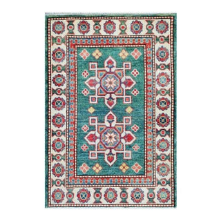 Herat Oriental Afghan Hand-knotted Tribal Vegetable Dye Kazak Teal/ Ivory Wool Rug (2' x 3')