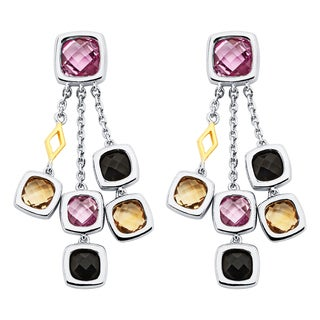 Boston Bay Diamonds 18k Gold and Sterling Silver 4mm Pink Sapphire Black Onyx and Citrine Earrings