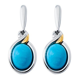 Boston Bay Diamonds 18k Yellow Gold and 925 Sterling Silver 7x9mm Oval Turquoise Earrings