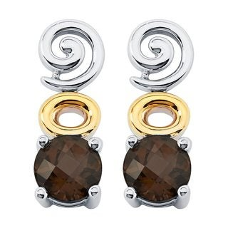 Boston Bay Diamonds 18k Gold and Sterling Silver 6mm Round-cut Smoky Quartz Earrings