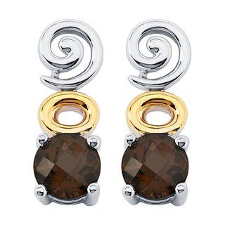 Boston Bay Diamonds 18k Yellow Gold & 925 Sterling Silver 6mm Smoky Quartz Earrings