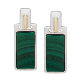 Boston Bay Diamonds 18k Gold and Sterling Silver 7x15mm Flat Baguette-cut Malachite Earrings