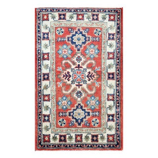 Herat Oriental Afghan Hand-knotted Tribal Vegetable Dye Kazak Red/ Ivory Wool Rug (1'11 x 3'2)