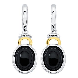 Boston Bay Diamonds 18k Gold and Sterling Silver 7x9mm Cabochon Oval-cut Black Onyx Earrings
