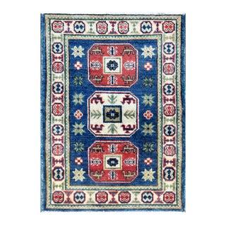 Herat Oriental Afghan Hand-knotted Tribal Vegetable Dye Kazak Blue/ Ivory Wool Rug (2' x 2'9)