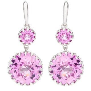 Boston Bay Diamonds Sterling Silver 11x5mm Cushion-cut Pink Sapphire Earrings