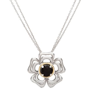 Boston Bay Diamonds 18k Gold and Sterling Silver 7mm Round-cut Black Onyx Pendant