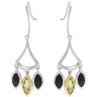 Boston Bay Diamonds 18k Gold and Sterling Silver Peridot and Black Onyx Earrings