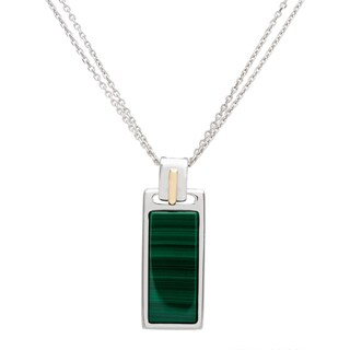 Boston Bay Diamonds 18k Gold and Sterling Silver 8x19mm Flat Baguette-cut Malachite Pendant