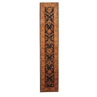 Herat Oriental Afghan Hand-knotted Tribal Vegetable Dye Oushak Wool Runner (2'8 x 12'10)