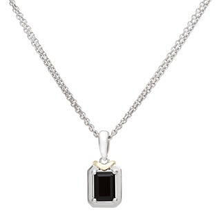 Boston Bay Diamonds 18k Gold and Sterling Silver 5x7mm Emerald-cut Black Onyx Pendant